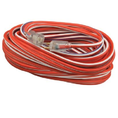 Coleman 02548-USA1 - 12/3 50' SJTW Extension Cord - Red, White & Blue