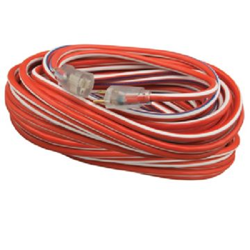 Coleman Cable - 12/3 100' SJTW Extension Cord - Red, White & Blue