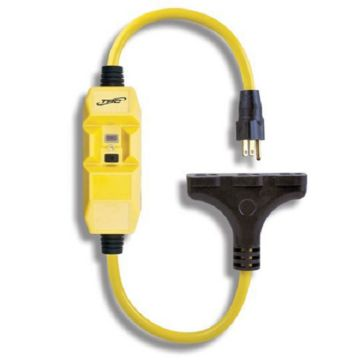 Coleman Cable 26020008-6 I - 12/3 2.5' In-Line GFCI - Yellow Cord