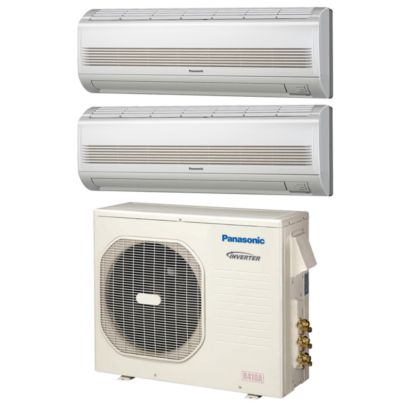 Panasonic CU3KE19NBU202 - 18,600 BTU Dual-Zone Wall Mount Mini Split Air Conditioner Heat Pump 208-230V (9-9)