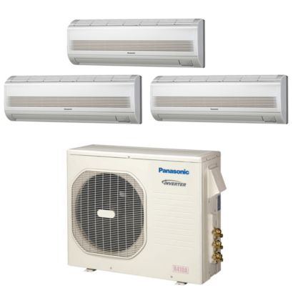 Panasonic® CU3KE19NBU300 - 18,600 BTU Tri-Zone Wall Mount Mini Split Air Conditioner Heat Pump 208-230V (7-7-7)