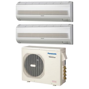 Panasonic CU4KE24NBU203 - 23,200 BTU Dual-Zone Wall Mount Mini Split Air Conditioner Heat Pump 208-230V (7-12)