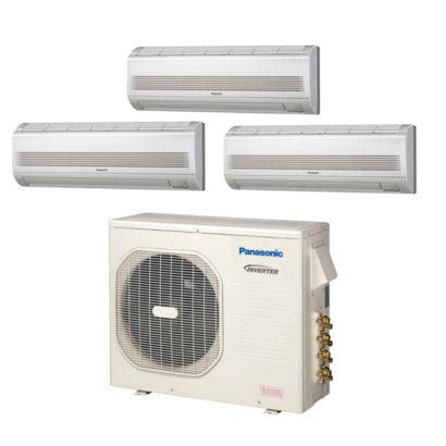 Panasonic® CU4KE24NBU302 - 23,200 BTU 18 SEER Tri-Zone Wall Mount Mini Split Air Conditioner Heat Pump 208-230V (7-9-9)