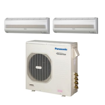 Panasonic CU4KE31NBU205 - 30,600 BTU Dual-Zone Wall Mounted Mini Split Air Conditioner with Heat Pump 220V (12-12)
