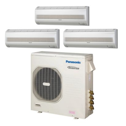 Panasonic® CU4KE31NBU304 - 30,600 BTU Tri-Zone Wall Mount Mini Split Air Conditioner Heat Pump 208-230V (9-9-9)