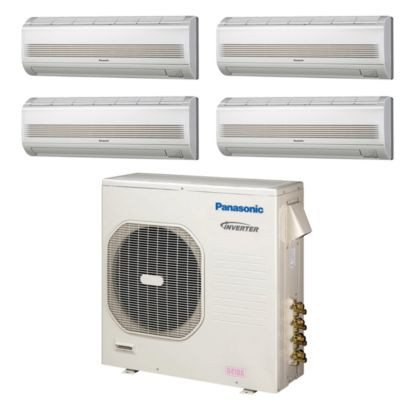 Panasonic® CU4KE31NBU402- 30,600 BTU Quad-Zone Wall Mount Mini Split Air Conditioner Heat Pump 208-230V (7-7-9-9)