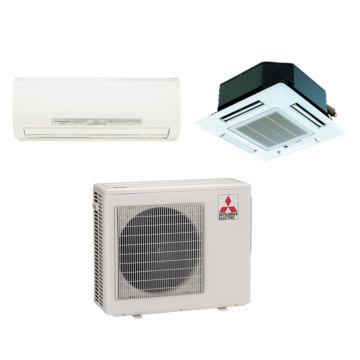 Mitsubishi Dual-Zone 18,000 BTU I-SEE Wall Mount & Ceiling Cassette Heat Pump (9k, 9k)