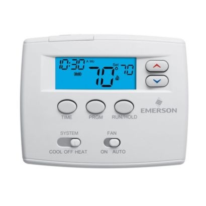 "Emerson 1F80-0224 - Blue 2"" Programmable Single Stage Thermostat"