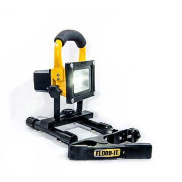 FLOOD-IT FL10YCWSP - 10W LED Cordless Floodlight With Magnetic Feet, Spring Clamp and Charger