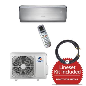 Gree CROWN09230-141215 - 9,000 BTU 30 SEER  Wall Mounted Mini Split Air Conditioner with Heat Pump 220V & 15' Line Set