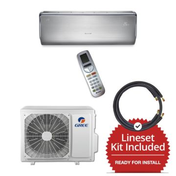 Gree CROWN09230-141235 - 9,000 BTU 30 SEER  Wall Mount Mini Split Air Conditioner Heat Pump 208-230V & 35' Line Set
