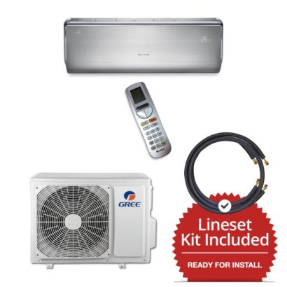 Gree CROWN09230-141250 - 9,000 BTU 30 SEER  Wall Mount Mini Split Air Conditioner Heat Pump 208-230V & 50' Line Set