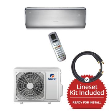 Gree CROWN12230-141215 - 12,000 BTU 23 SEER  Wall Mounted Mini Split Air Conditioner with Heat Pump 220V & 15' Line Set