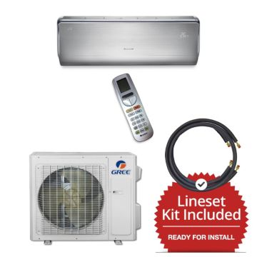 Gree CROWN18230-145875 - 18,000 BTU 21 SEER  Wall Mounted Mini Split Air Conditioner with Heat Pump 220V & 75' Line Set