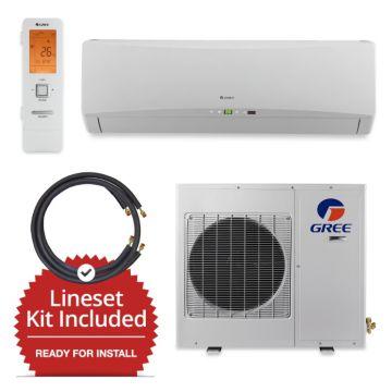 Gree GWH09TB-D3DNA1A/LS1412FF15W - 9,000 BTU Wall Mount Mini Split Air Conditioner Heat Pump 208-230V & FREE 15' Line Set
