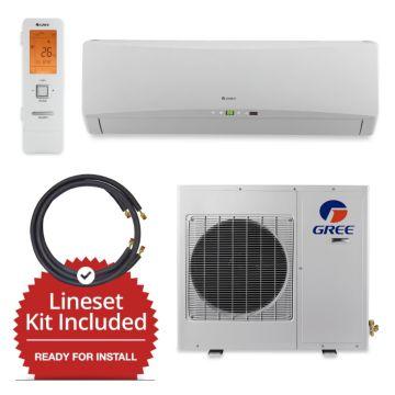 Gree GWH09TB-D3DNA1A/LS1412FF25W - 9,000 BTU Wall Mount Mini Split Air Conditioner Heat Pump 208-230V & FREE 25' Line Set
