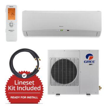 Gree GWH18TC-D3DNA1A-LE/LS1458FF15W- 18,000 BTU Wall Mounted Mini Split Air Conditioner w/ Heat Pump 220V & FREE 15' Line Set
