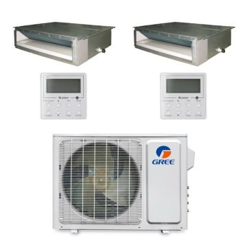 Gree MULTI18BDUCT200 - 18,000 BTU Multi21 Dual-Zone Concealed Duct Mini Split Air Conditioner Heat Pump 208-230V (9-9)
