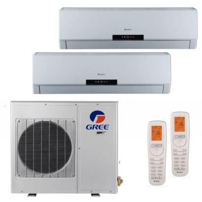 GREE +Multi 18,000 BTU Dual Zone Mini Split Heat Pump System 208-230V w/ 3 Year Labor Warranty (9-12)