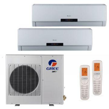 Gree MULTI18HP202 - 18,000 BTU +Multi Dual-Zone Wall Mount Mini Split Air Conditioner Heat Pump 208-230V (12-12)