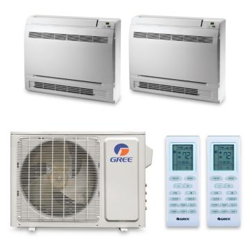 Gree MULTI18HP240 - 18,000 BTU +Multi Dual-Zone Floor Console Mini Split Air Conditioner Heat Pump 208-230V (9-9)