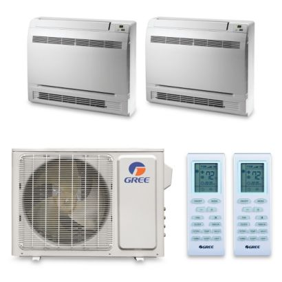 Gree MULTI18HP240 - 18,000 BTU +Multi Dual-Zone Floor Console Mini Split Air Conditioner Heat Pump 208-230V (9-9)