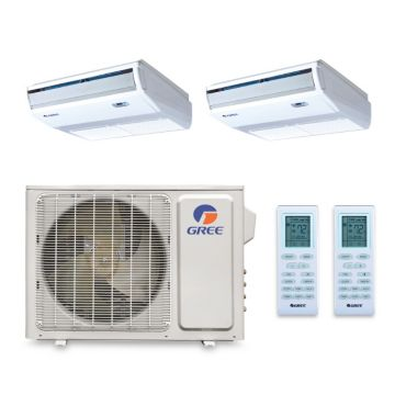 Gree MULTI18HP250 - 18,000 BTU +Multi Dual-Zone Floor Ceiling Mini Split Air Conditioner Heat Pump 208-230V (9-9)