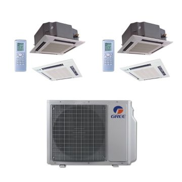 Gree MULTI24BCAS203 - 24,000 BTU Multi21 Dual-Zone Ceiling Cassette Mini Split Air Conditioner Heat Pump 208-230V (12-12)