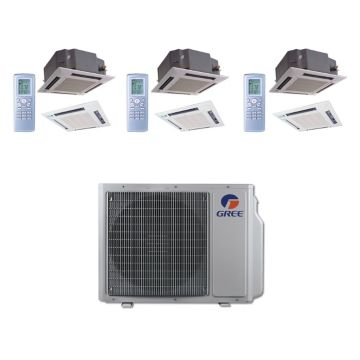 Gree MULTI24BCAS304 - 24,000 BTU Multi21 Tri-Zone Ceiling Cassette Mini Split Air Conditioner Heat Pump 208-230V (12-12-12)