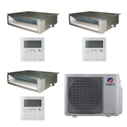 Gree MULTI24BDUCT303 - 24,000 BTU Multi21 Tri-Zone Concealed Duct Mini Split Air Conditioner Heat Pump 208-230V (9-12-12)