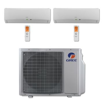 Gree MULTI24BTERRA205 - 24,000 BTU Multi21 Dual-Zone Wall Mounted Mini Split Air Conditioner with Heat Pump 220V (18-18)