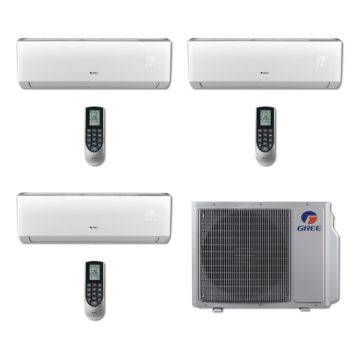Gree MULTI24BVIR300 - 24,000 BTU Multi21 Tri-Zone Wall Mount Mini Split Air Conditioner Heat Pump 208-230V (9-9-9)
