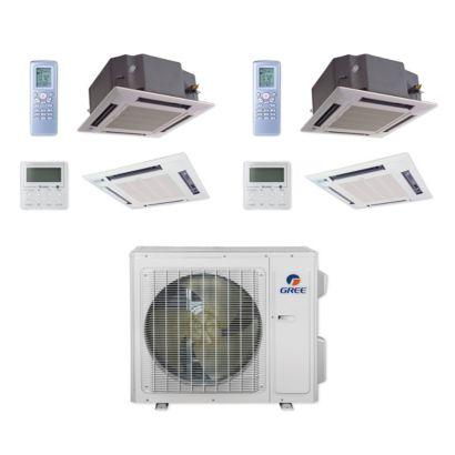 Gree MULTI24CCAS203 - 24,000 BTU Multi21+ Dual-Zone Ceiling Cassette Mini Split Air Conditioner Heat Pump 208-230V (12-12)