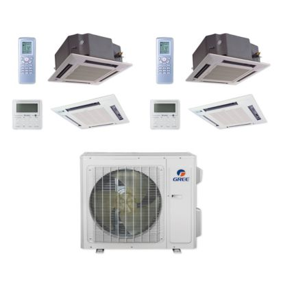 Gree MULTI24CCAS205 - 24,000 BTU Multi21+ Dual-Zone Ceiling Cassette Mini Split Air Conditioner Heat Pump 208-230V (18-18)