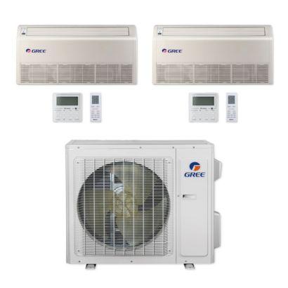 Gree MULTI24CFLR203 - 24,000 BTU Multi21+ Dual-Zone Floor/Ceiling Mini Split Air Conditioner Heat Pump 208-230V (12-12)