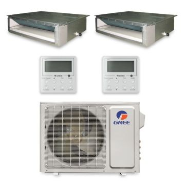 Gree MULTI24HP233 - 24,000 BTU +Multi Dual-Zone Concealed Duct Mini Split Air Conditioner Heat Pump 208-230V (12-12)