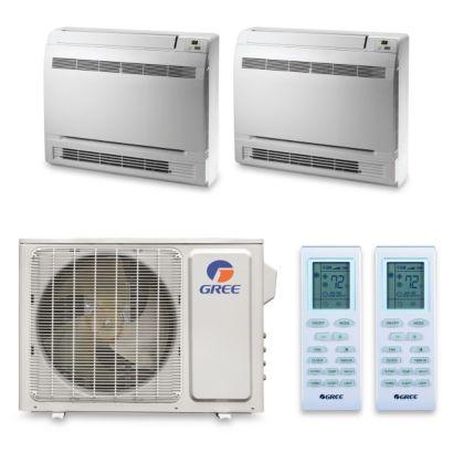 Gree MULTI24HP243 - 24,000 BTU +Multi Dual-Zone Floor ConsoleMini Split Air Conditioner Heat Pump 208-230V (12-12)