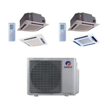 Gree MULTI30BCAS206 - 30,000 BTU Multi21 Dual-Zone Ceiling Cassette Mini Split Air Conditioner Heat Pump 208-230V (12-24)
