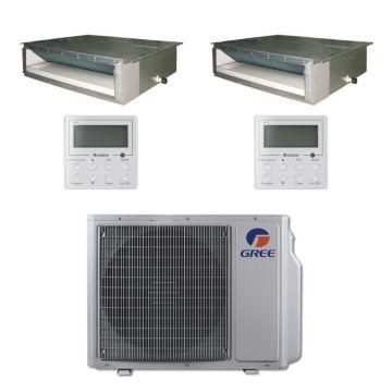 Gree MULTI30BDUCT207 - 30,000 BTU Multi21 Dual-Zone Concealed Duct Mini Split Air Conditioner with Heat Pump 220V (18-18)