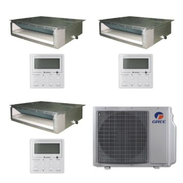 Gree MULTI30BDUCT300 - 30,000 BTU Multi21 Tri-Zone Concealed Duct Mini Split Air Conditioner with Heat Pump 220V (9-9-9)