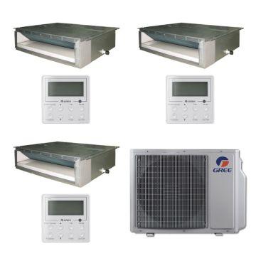 Gree MULTI30BDUCT307 - 30,000 BTU Multi21 Tri-Zone Concealed Duct Mini Split Air Conditioner with Heat Pump 220V (12-12-18)