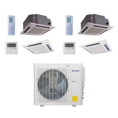 Gree MULTI30CCAS207 - 30,000 BTU Multi21+ Dual-Zone Ceiling Cassette Mini Split Air Conditioner Heat Pump 208-230V (18-18)
