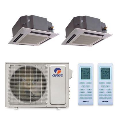Gree MULTI30HP224 - 30,000 BTU +Multi Dual-Zone Ceiling Cassette Mini Split Air Conditioner Heat Pump 208-230V (12-18)