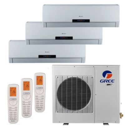 Gree MULTI30BNEO306 - 30,000 BTU +Multi Tri-Zone Wall Mount Mini Split Air Conditioner Heat Pump 208-230V (12-12-12)