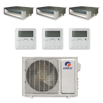 Gree MULTI30HP330 - 30,000 BTU +Multi Tri-Zone Concealed Duct Mini Split Air Conditioner Heat Pump 208-230V (9-9-9)