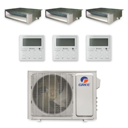 Gree MULTI30HP331 - 30,000 BTU +Multi Tri-Zone Concealed Duct Mini Split Air Conditioner Heat Pump 208-230V (9-9-12)