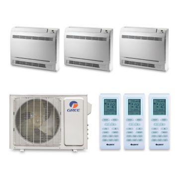 Gree MULTI30HP340 - 30,000 BTU 16 SEE +Multi Tri-Zone Floor Console Mini Split Air Conditioner with Heat Pump 220V (9-9-9)