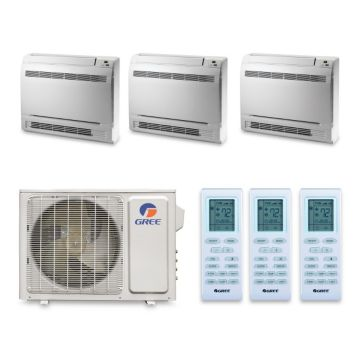 Gree MULTI30HP340 - 30,000 BTU 16 SEE +Multi Tri-Zone Floor Console Mini Split Air Conditioner Heat Pump 208-230V (9-9-9)