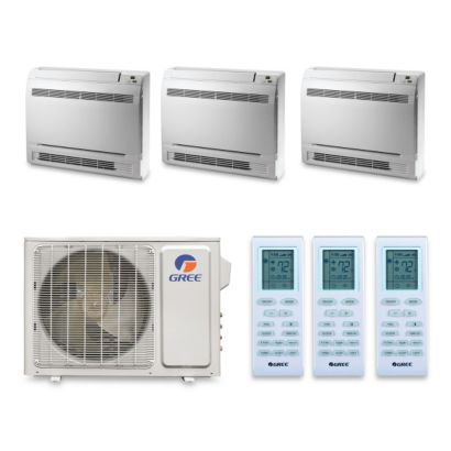 Gree MULTI30HP341 - 30,000 BTU +Multi Tri-Zone Floor Console Mini Split Air Conditioner Heat Pump 208-230V (9-9-12)