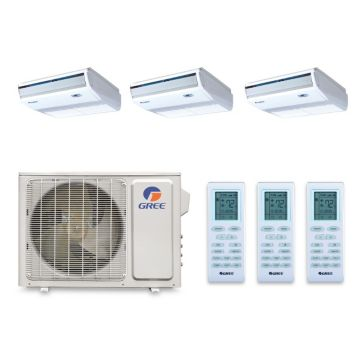 Gree MULTI30BCONS300 - 30,000 BTU +Multi Tri-Zone Floor Console Mini Split Air Conditioner Heat Pump 208-230V (9-9-9)